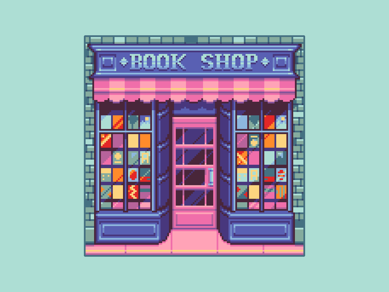 Bookshop enviroment background mobiile game gaming game design teal cute art architecture bookshop illustraion pixel illustration pixel art