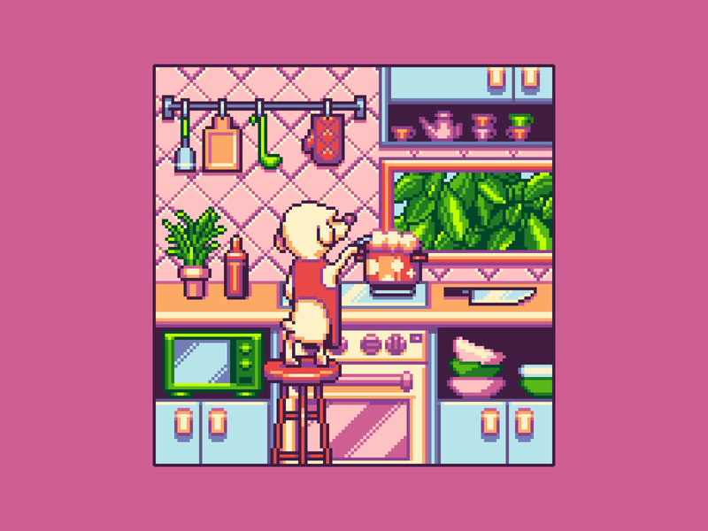 Fairy Kitchen cartoon character kitchen game art game design cute animal cute enviroment 16bit background pixel illustration illustration pixelart pixel art