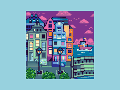 Port City gaming cute game design game art port city boat pixel copenhagen copenhagen architecture enviroment illustration 16bit pixelart pixel art