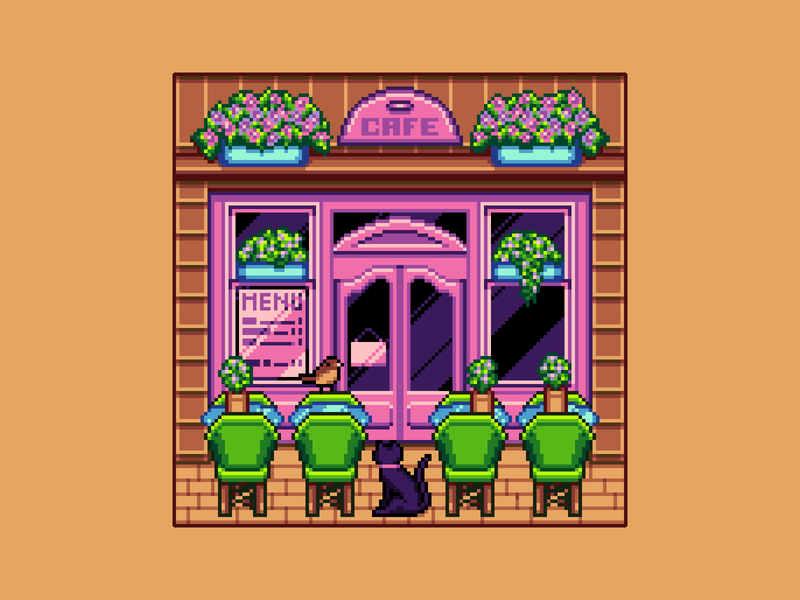 Cafe street cafe cute animals cute pixel cafe cafe gaming game art game design 8bit 16bit background architecture enviroment illustration pixelart pixel art