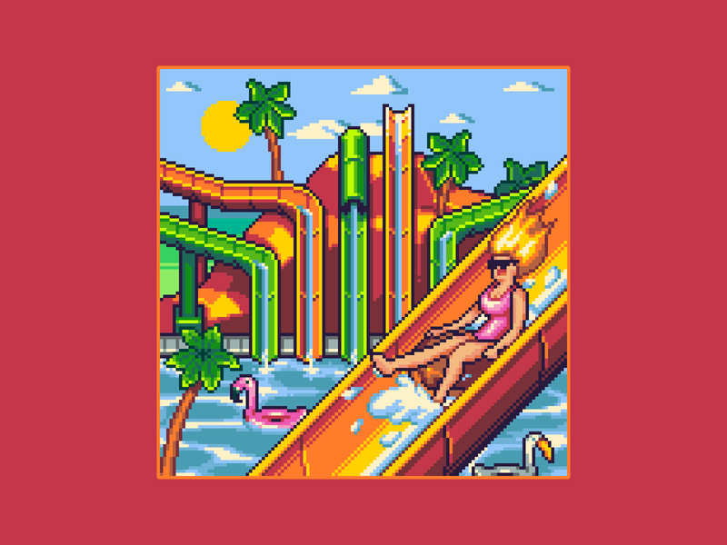 Fun at Waterpark waterslide amusement park palmtree flamingo waterpark pixel waterpark architecture background enviroment gaming game design game art pixelart 16bit illustration pixel art