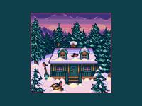 Winter Сabin vacation birds sunset nature chalet forest snow winter cabin pixel winter gaming game art background game design pixelart 8bit 16bit enviroment illustration pixel art