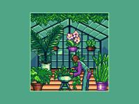 Pixel Greenhouse green cactus orchids palm ficus plants flowers greenhouse architecture 8bit gaming game art game design enviroment pixelart illustration 16bit pixel art