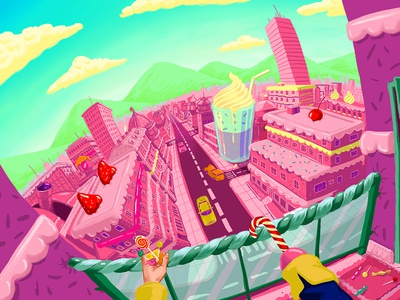 Sugar Society cityscape sweets candy illustration