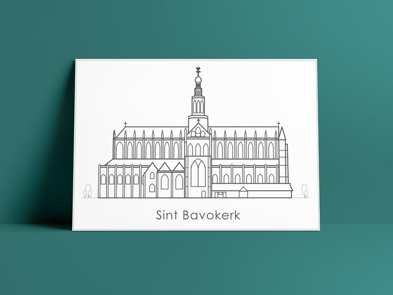 Illustration Sint Bavo Church tekening minimalism clean greetingcard icon netherlands haarlem architectural vector illustration graphic  design drawing design