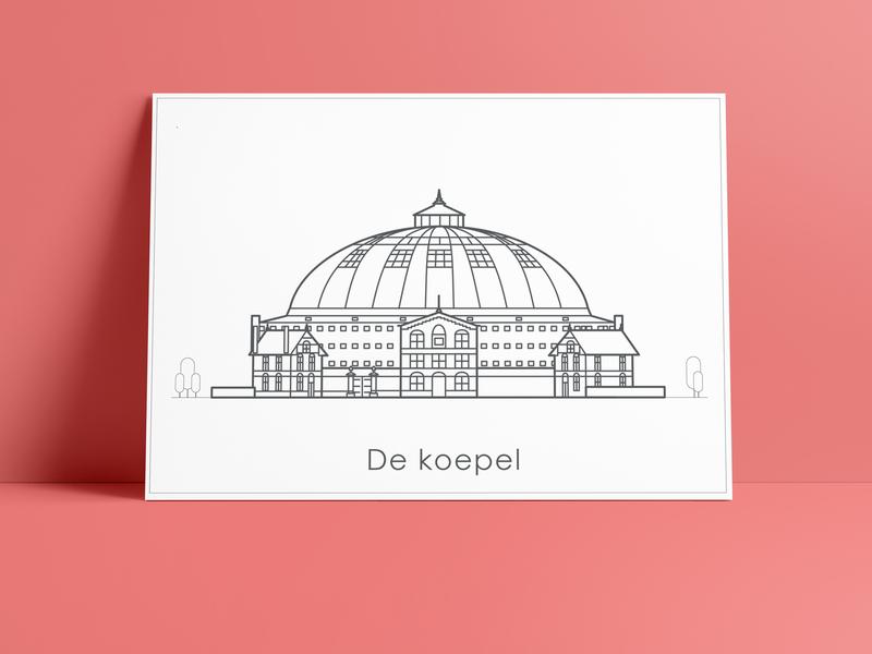 Illustration 'Koepel'  prison Haarlem tekening simple postcard printdesign minimalism greetingcard icon clean netherlands haarlem architectural vector illustration graphic  design drawing design