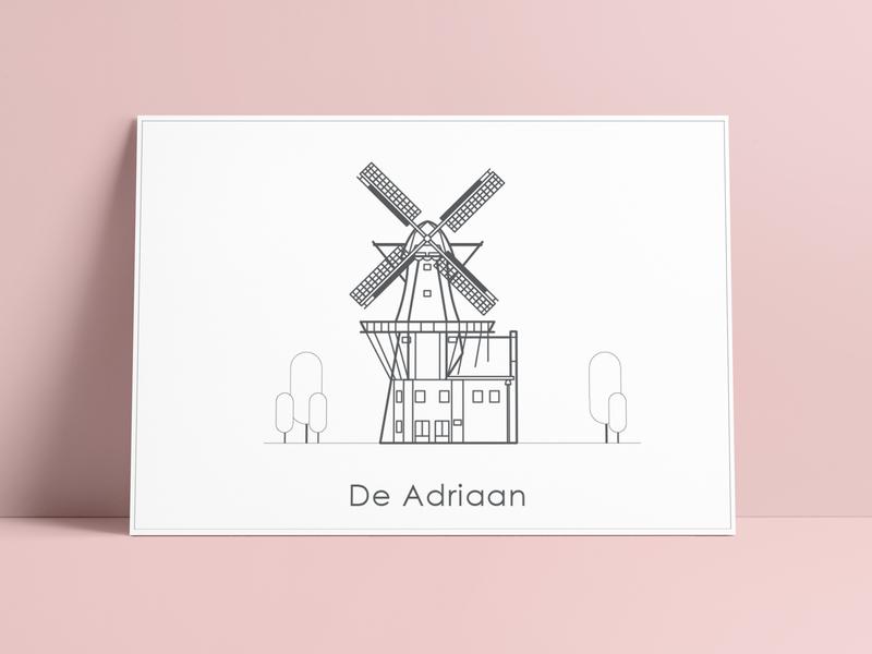 Illustration Windmill de Adriaan simple postcard printdesign minimalism greetingcard clean icon netherlands haarlem architectural vector illustration graphic  design drawing design