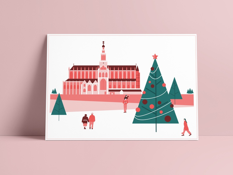 Personal Christmascard christmas card christmas corporate branding branding simple postcard printdesign greetingcard minimalism clean netherlands icon haarlem architectural vector illustration graphic  design drawing design