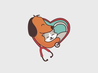 Dog and cat logo illustration