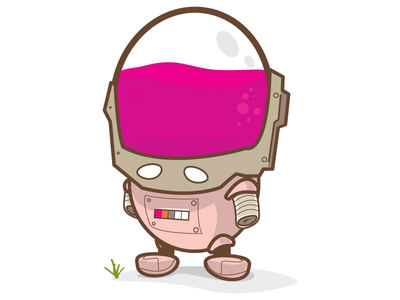 Curious Robot illustration illustrator round robot pink looney digital charactor