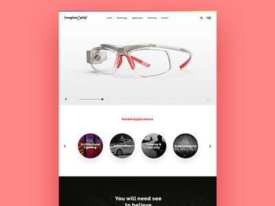 optics website redesign  vr texture fresh ui black white clean minimal responsive forntpage website layout