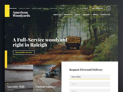 American Woodyards dark website web uidesign ui responsive minimal lines layout homepage frontpage fresh