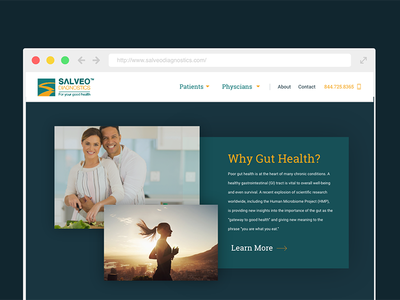 Salveo Nav bar on scroll web website design