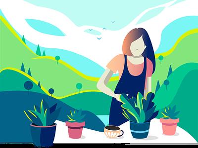 18 Plants flat illustration relaxing nature colorful plants design vector illustration
