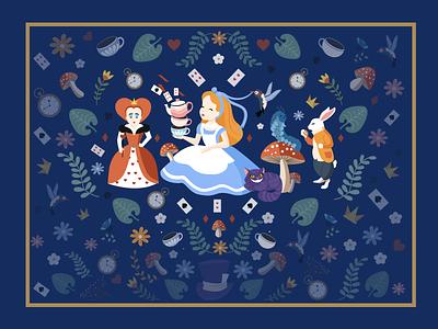 Alice in Wonderland flat illustration flat colorful vivid book aliceinwonderland alice design illustration