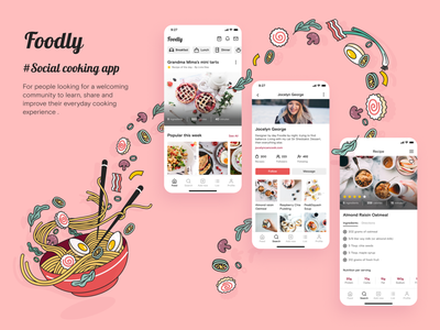 Foodly foodie cooking illustration ui uxui noodles pasta food