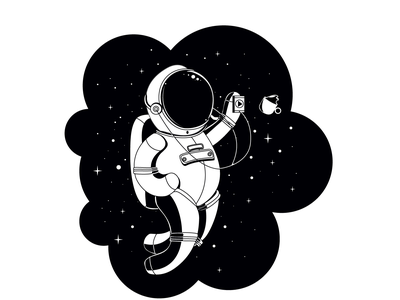 Where's my Coffee? cute vector line art clean design geometry coffee black and white astronaut