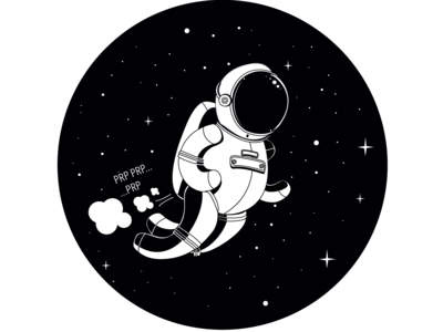 Flying away space exploration space cute vector illustration black and white astronaut