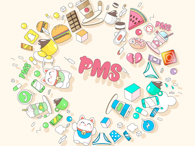 Keep calm and PMS on.. lucky cat food pms character illustration geometry colour cute pastel color pastel