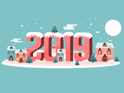 2019 design vector illustration geometry trees snow winter party style practice house cute 2019 christmas happy holidays