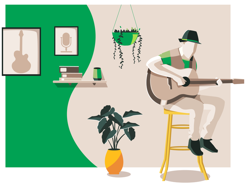 SongBook chords music playing guitar guitarist flat  design flat coffee design vector illustration