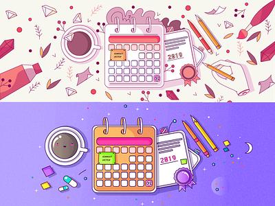 Save the Date illustation 2020 2019 cute calendar coffee design vector