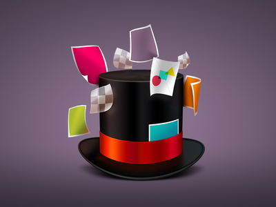 Hat hat illustration photoshop 3d papers images layers floating ribbon