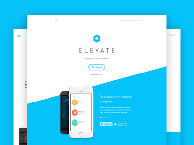 Introducing Elevate app landing iphone android ios web responsive elevate