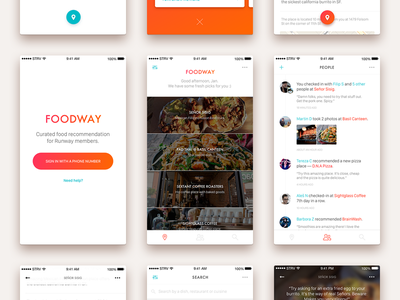 Foodway - Curated food recommendation ui app ios
