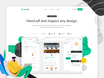 Avocode - Homepage refresh 🤔 abstract illustrations ui avocode web page landing