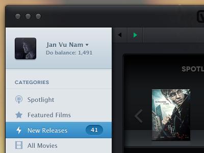 Categories categories mac os application app dark contrast player films list