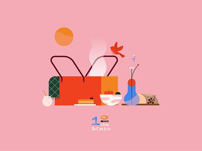 May 1st laborday sun outside food color geometric adobe digitalart illustration illustrator bird design