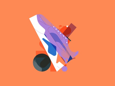 sneakers 3 orange shapes purple color art composition digitalart illustrator design illustration