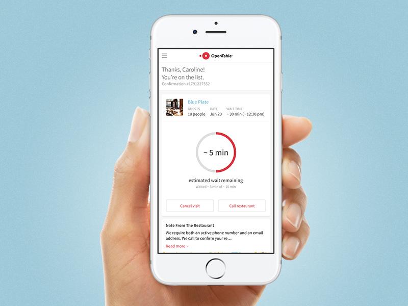 Opentable waitlist mobile web