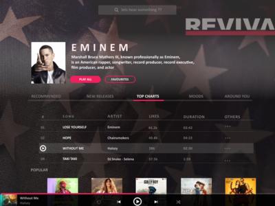 Music Player design typography webdeisgn ui dailyui