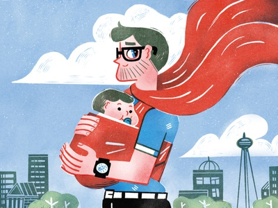 Super Daddy drawing man boy article love parenthood superman superhero dad children editorial magazine editorial illustration illustration