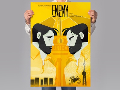 Enemy - Doppelgänger - Movie Poster affiche gradient jake gyllenhaal yellow doppelganger graphic design enemy movie poster movie poster editorial illustration magazine