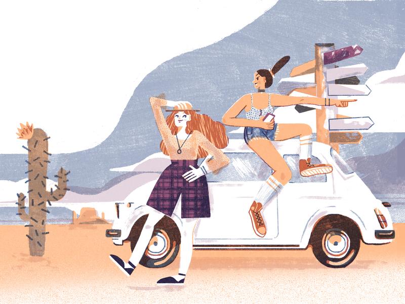 Travel Girls on Fiat 500 selfpublishing indiegogo calendar printing art travel risograph print design illustration girls 500 fiat fiat