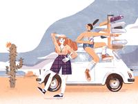 Travel Girls on Fiat 500
