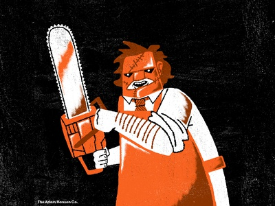 10/02: Leatherface chainsaw texas chainsaw massacre leatherface midcentury spooky horror halloween texture illustration design ahco adam hanson