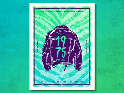 the 1975 zebra texture greaser leather leather jacket illustration screen print gig poster ahco