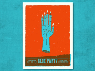 Bloc Party voodoo candle psychic occult hand illustration screen print gig poster ahco