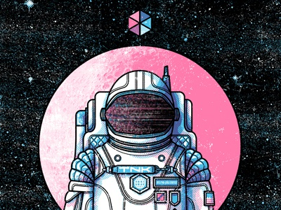 Tomorrow Never Knows 2013 adam hanson design illustration astronaut space screen print gig poster texture shape static