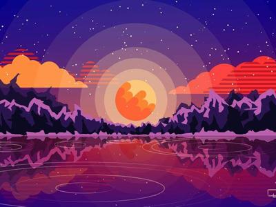 Sunset art adobe illustrator vector