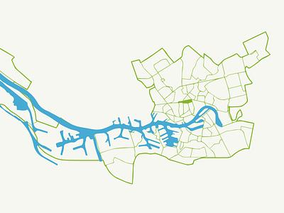 Map of Rotterdam rotterdam vector map line green blue port of rotterdam