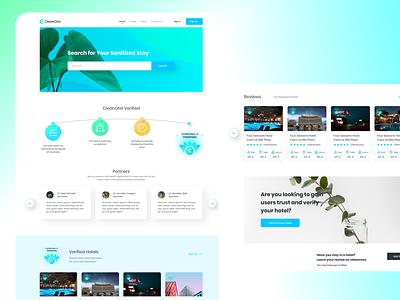 CleanOtel web design web app uiux travel landing page hotel health covid-19 clean booking branding