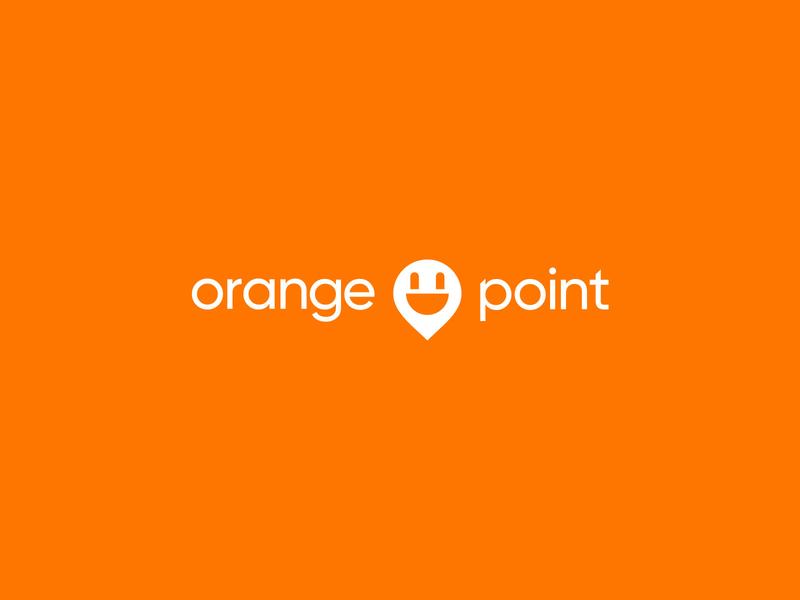 Logo for Orange Point charging stations tech logo illustrator logotype design branding brand design logo design logotype logo