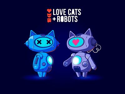 Love, cats + robots robot love cat characterdesign cartoon character illustration 3d 2d design