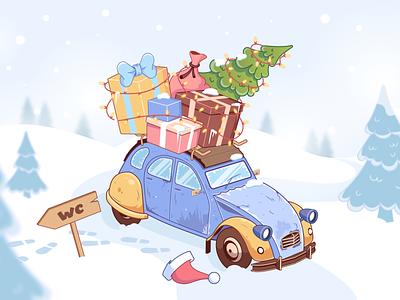 Beeep, beeeeep 2d design citroen car santa new year christmas 3d illustration