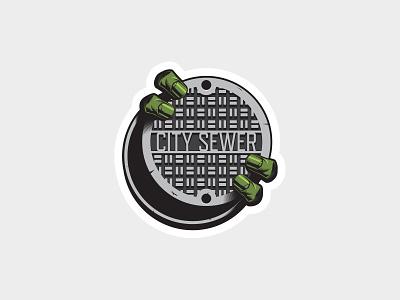 Sewer Lurker Sticker vector art vector illustration teenage mutant ninja turtles tmnt sewer design sticker design sticker art sticker